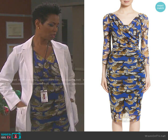 Ruched Tulle Sheath Dress by Fuzzi worn by Vanessa Williams on Days of our Lives