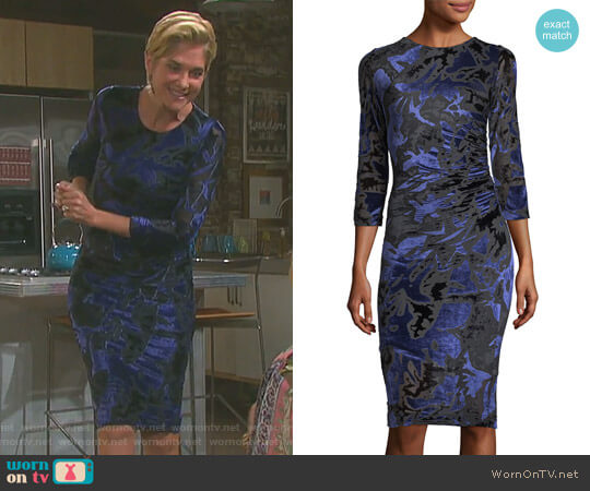 3/4-Sleeve Floral Velvet Burnout Sheath Dress by Fuzzi worn by Kassie DePaiva on Days of our Lives
