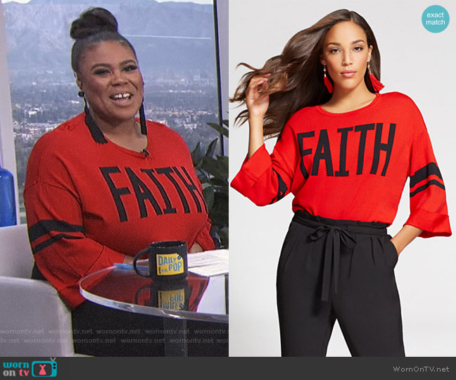 Gabrielle Union Collection 'Faith' Sweater by New York & Company worn by Nina Parker  on E! News