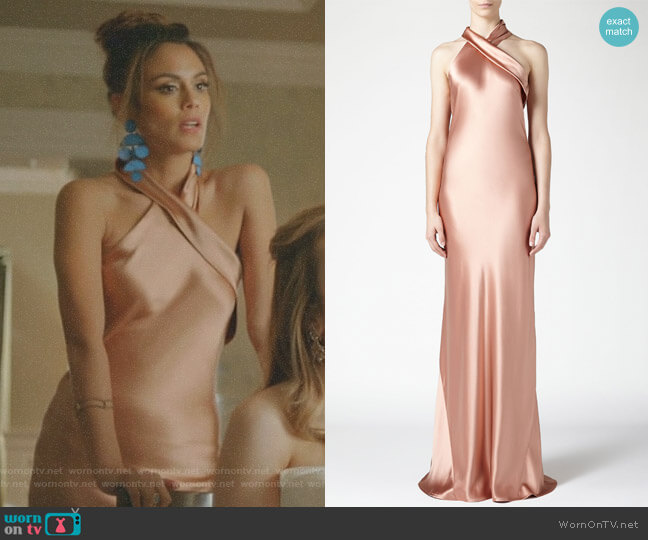 Asymmetrical Silk Bias Cut Dress by Galvan worn by Cristal Flores (Nathalie Kelley) on Dynasty