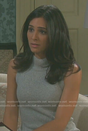 Gabi's grey turtleneck sweater dress on Days of our Lives