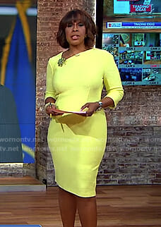 Gayle's yellow asymmetric neck sheath dress on CBS This Morning