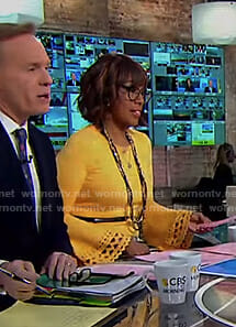 Gayle's yellow laser cut bell sleeve top on CBS This Morning