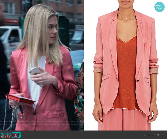 Matte Satin One-Button Jacket by Giada Forte worn by Trish Walker (Rachael Taylor) on Jessica Jones