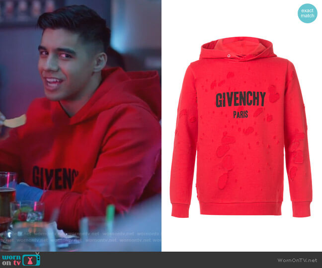 Distressed Logo Print Hoodie by Givenchy worn by Jordan Buhat on Grown-ish