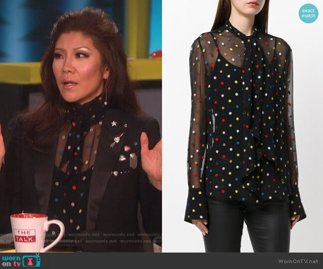 Polka Dot Embroidered Shirt by Givenchy worn by Julie Chen  on The Talk