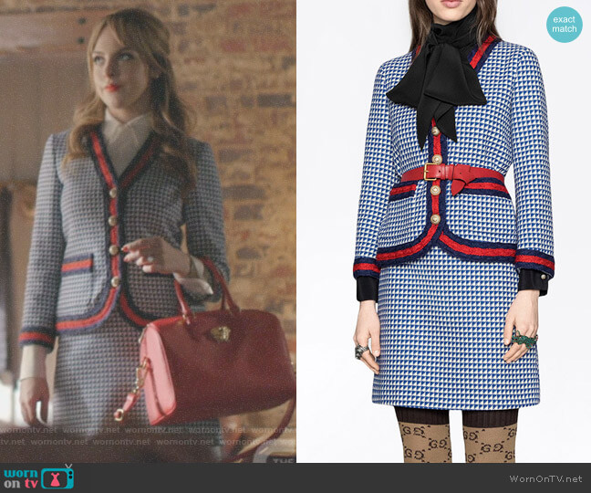 Contrast-Trim Tweed Jacket and Wool Skirt with Web Stripeby Gucci worn by Fallon Carrington (Elizabeth Gillies) on Dynasty