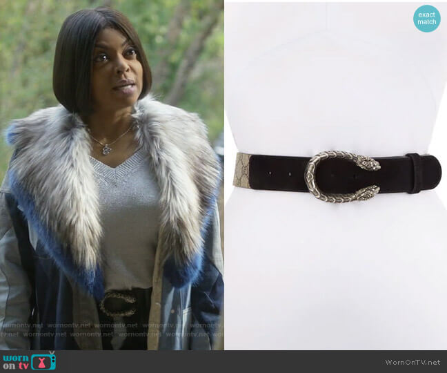 Dionysus GG Supreme Canvas Belt w/ Double Tiger Head Buckle by Gucci worn by Taraji P. Henson on Empire