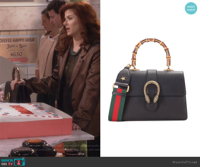 Dionysus Medium leather shoulder bag by Gucci worn by Grace Adler (Debra Messing) on Will & Grace