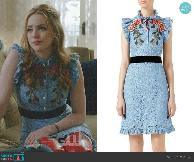 Embroidered Cluny Lace Dress by Gucci worn by Elizabeth Gillies on Dynasty