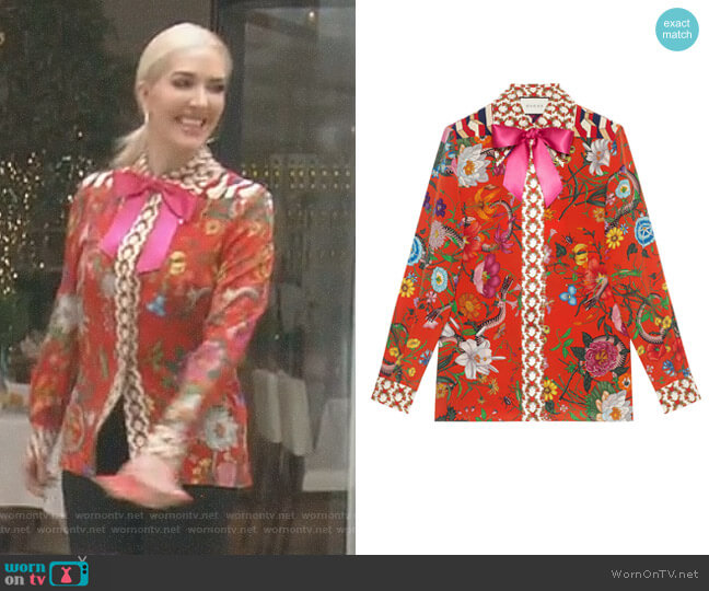 Flora Snake Print Silk Shirt by Gucci worn by Erika Girardi  on The Real Housewives of Beverly Hills