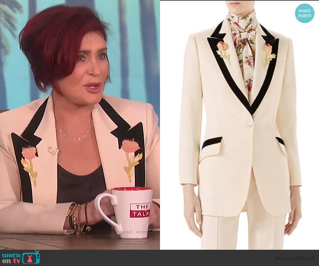 Floral-Embroidered Wool Jacket by Gucci  worn by Sharon Osbourne on The Talk
