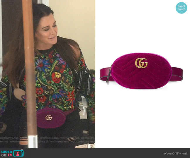 GG Marmont Matelassé Velvet Belt Bag by Gucci worn by Kyle Richards  on The Real Housewives of Beverly Hills