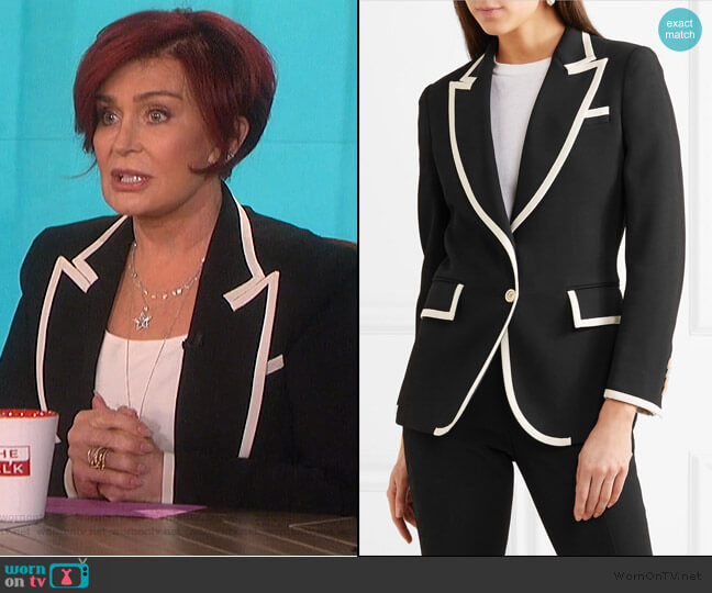 Grosgrain-Trimmed Cady Blazer by Gucci worn by Sharon Osbourne (Sharon Osbourne) on The Talk