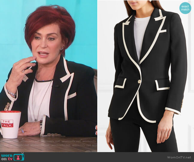 Grosgrain-Trimmed Cady Blazer by Gucci worn by Sharon Osbourne on The Talk