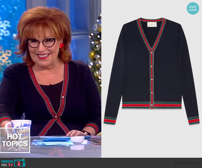 Faux pearl-embellished wool cardigan by Gucci worn by Joy Behar  on The View