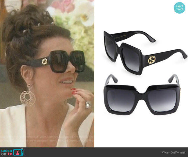 Oversized Square Sunglasses by Gucci worn by Lisa Vanderpump  on The Real Housewives of Beverly Hills