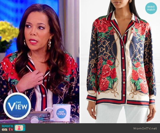 Oversized printed silk-twill shirt by Gucci worn by Sunny Hostin on The View