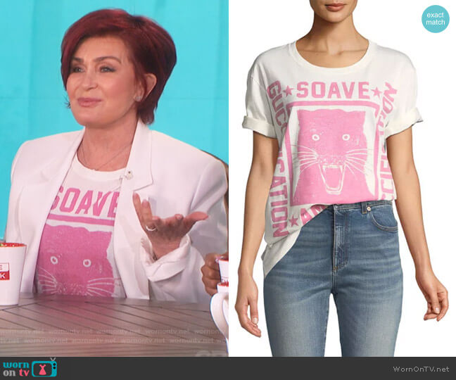 Soave Amore Guccification Print T-Shirt by Gucci worn by Sharon Osbourne on The Talk
