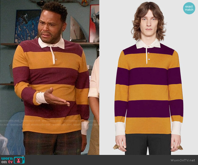 Gucci Striped Polo with Thanatos Embroidery worn by Anthony Anderson on Blackish