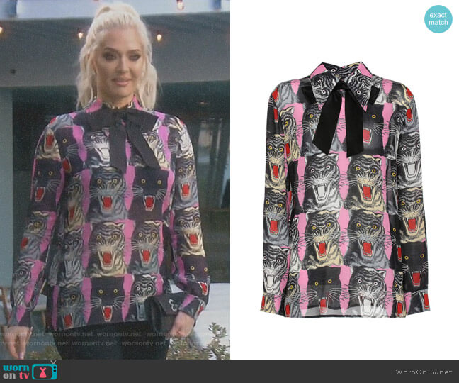 Panther Blouse by Gucci worn by Erika Girardi  on The Real Housewives of Beverly Hills