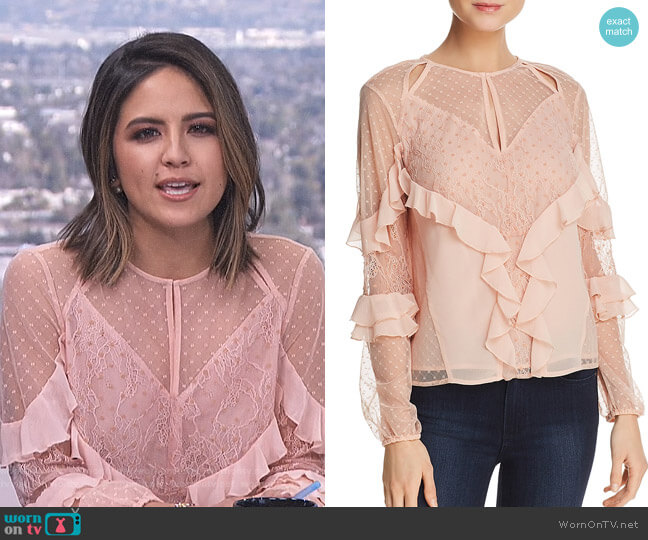 'Juniper' Ruffled Cutout Top by Guess worn by Erin Lim on E! News