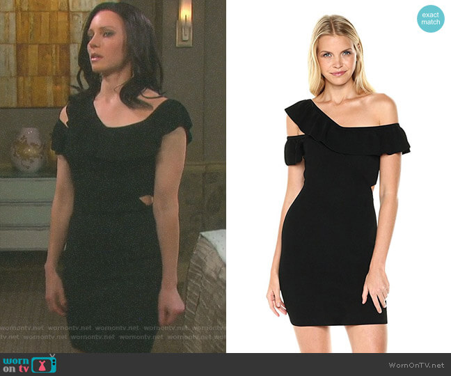'Kenley' Ruffle Sweater Dress by Guess worn by Marci Miller on Days of our Lives