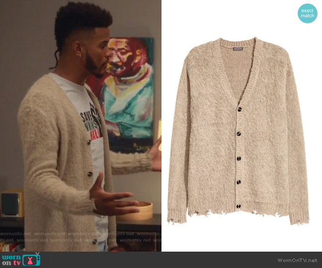 Knit Cardigan by H&M worn by Aaron Jackson (Trevor Jackson) on Grown-ish