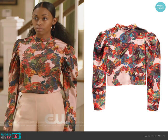 Patterned Satin Blouse by H&M worn by Nafessa Williams on Black Lightning