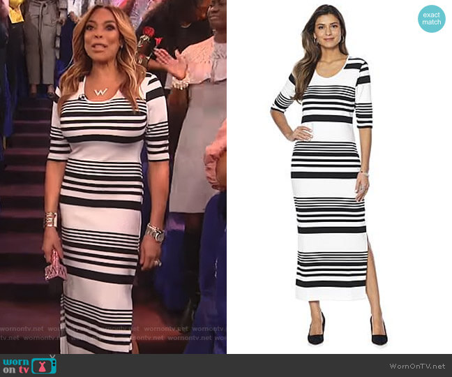 Ottoman Rib Knit Maxi Dress by Wendy Williams HSN Collection worn by Wendy Williams  on The Wendy Williams Show