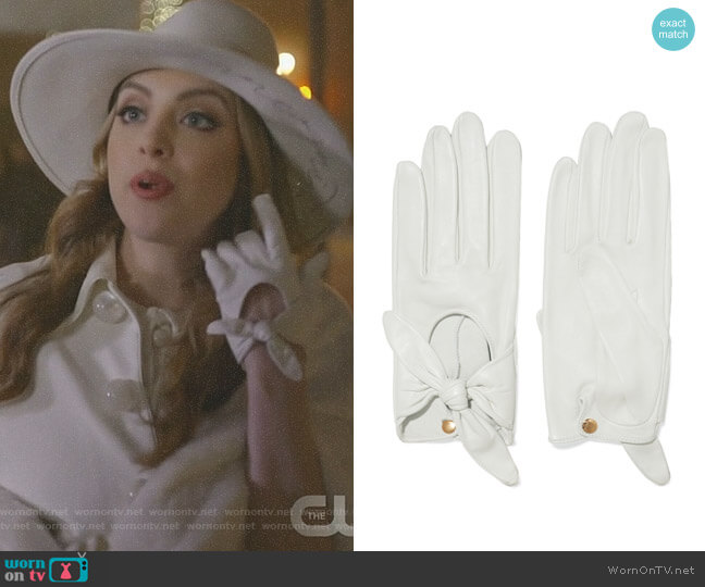 Helena bow-embellished leather gloves by Causse Gantier worn by Fallon Carrington (Elizabeth Gillies) on Dynasty