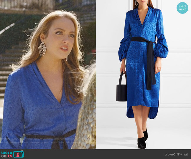 Helga Belted Jacquard Midi Dress by Hellessy worn by Elizabeth Gillies on Dynasty