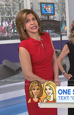 Hoda's red bow neck dress on Today