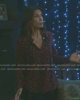 Hope's black heart print blouse with tie on Days of our Lives