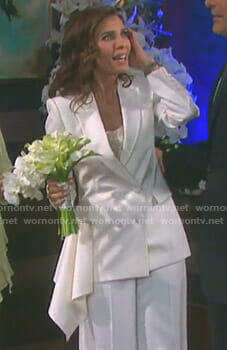 Hope's white blazer with ruffle detail on Days of our Lives