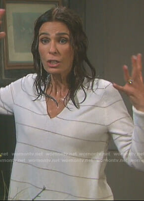 Hope's white striped v-neck sweater on Days of our Lives