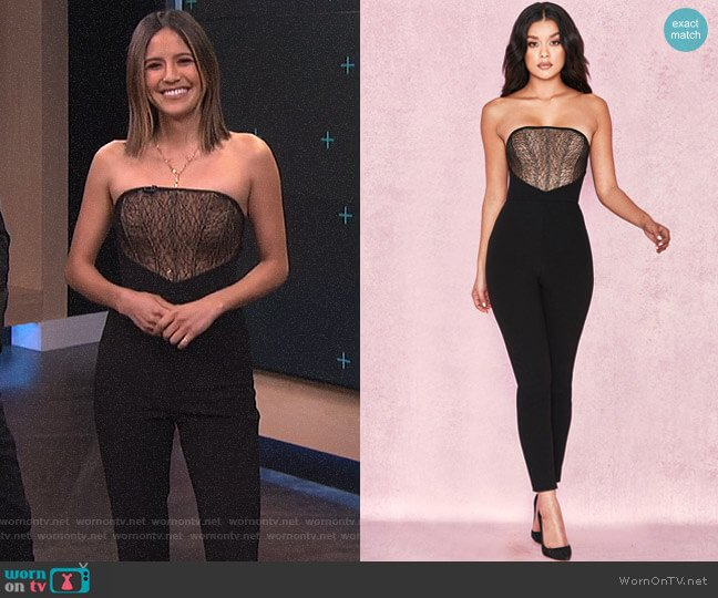 'Beulla' Black + Beige Lace Panel Strapless Jumpsuit by House of CB worn by Erin Lim  on E! News