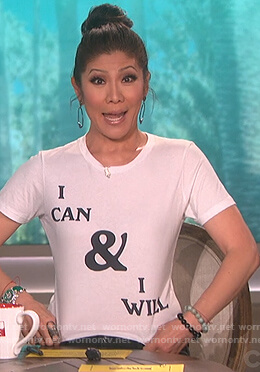 Julie's white i can and i will t-shirt on The Talk