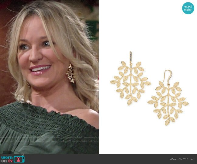 INC International Concepts Gold-Tone Leaf Drop Earrings worn by Sharon Collins (Sharon Case) on The Young & the Restless