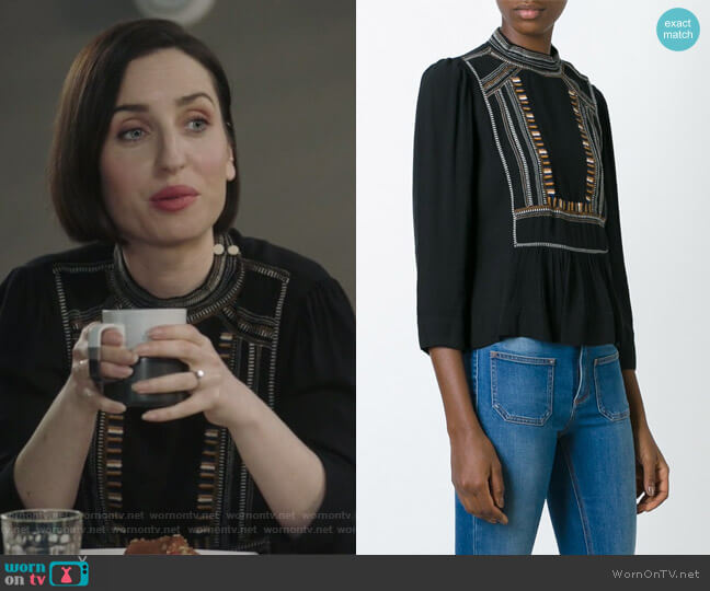 Cerza Blouse by Isabel Marant Etoile worn by Jennifer Short (Zoe Lister-Jones) on Life in Pieces
