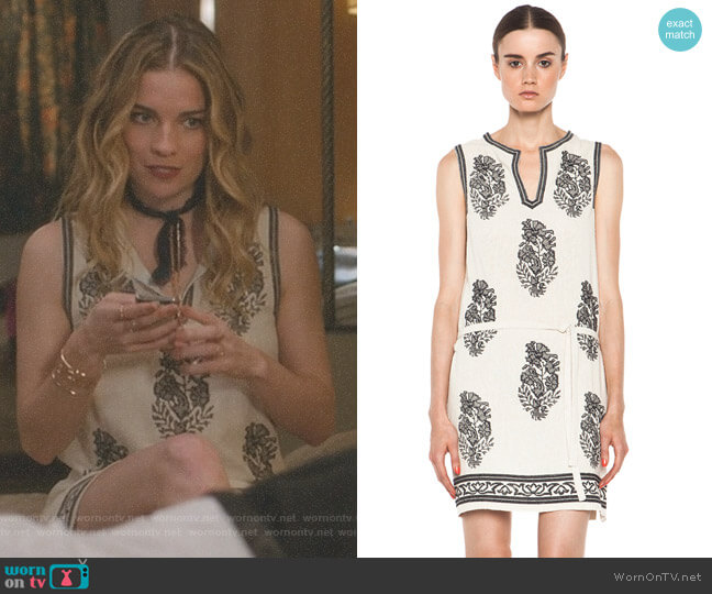 Dita Embroidered Noil Silk Dress by Isabel Marant Étoile worn by Annie Murphy on Schitts Creek