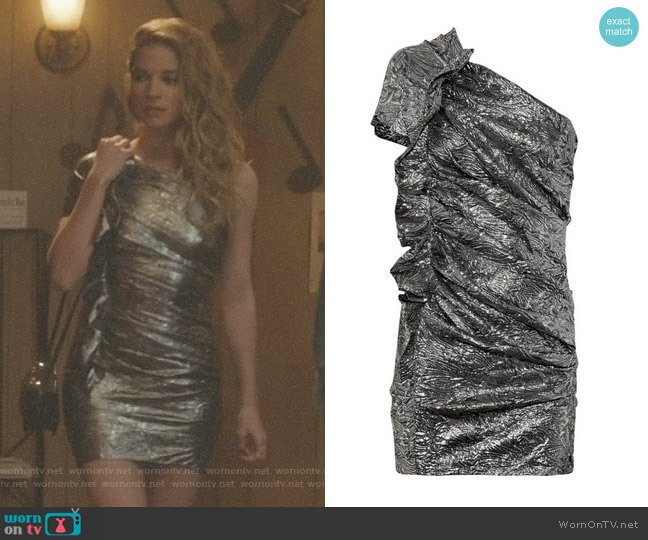 'Gia' Brocade One-Shoulder Dress by Isabel Marant worn by Annie Murphy on Schitts Creek