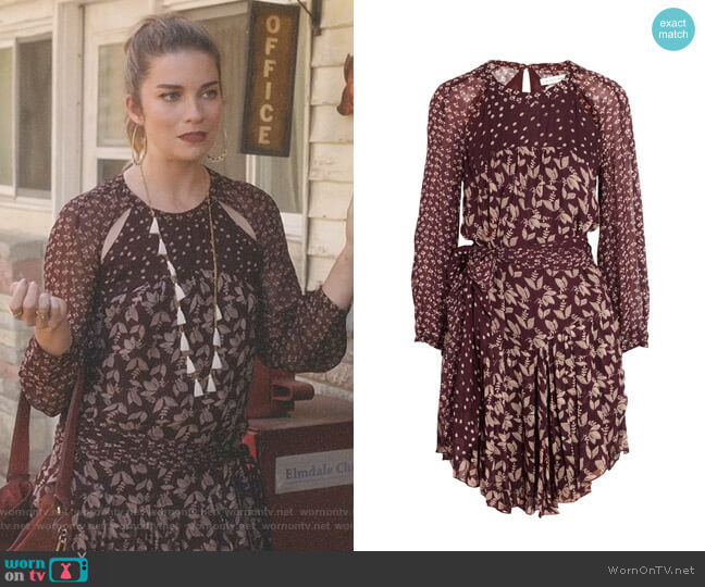 Prewitt Leaf-Print Georgette Dress by Isabel Marant Étoile worn by Annie Murphy on Schitts Creek