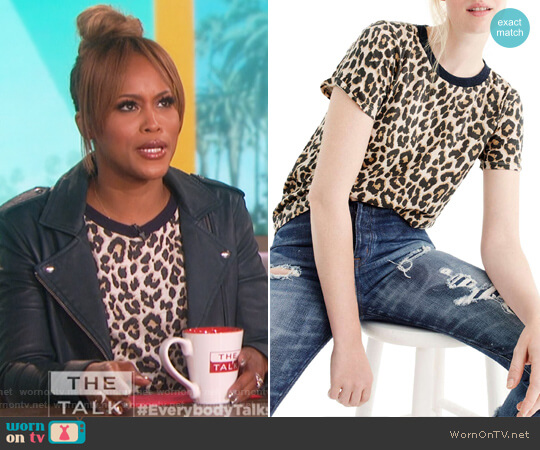 Leopard Print Tee by J. Crew worn by Eve on The Talk