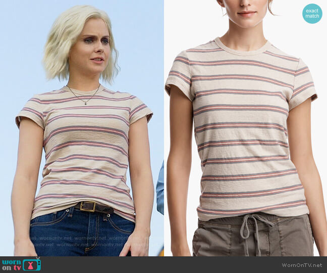 James Perse Retro Stripe Vintage Tee worn by Rose McIver on iZombie
