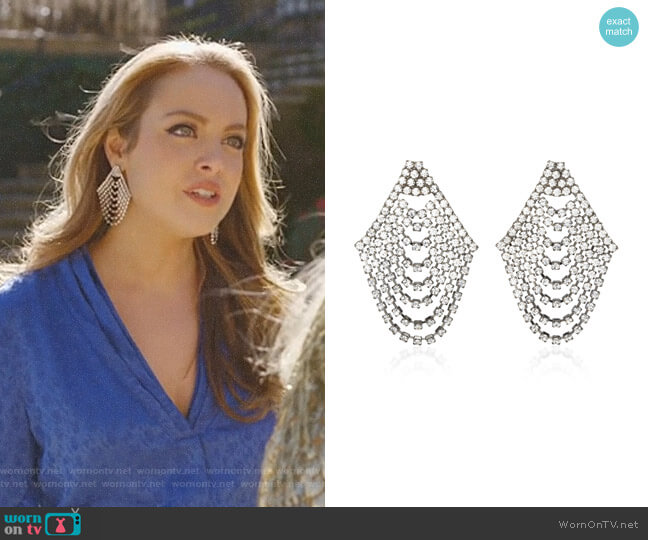 Seraphina Cascade Earrings by Jennifer Behr worn by Elizabeth Gillies on Dynasty