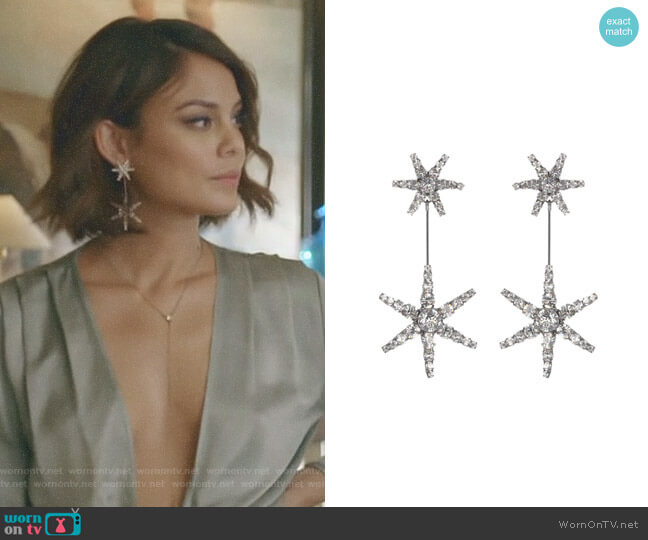 Starburst crystal earrings by Jennifer Behr worn by Nathalie Kelley on Dynasty