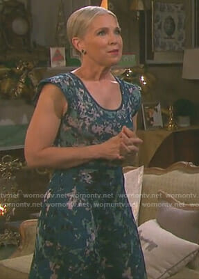 Jennifer's green printed scoop neck dress on Day of our Lives