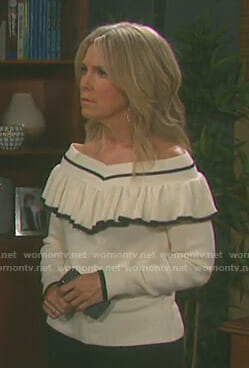 Jennifer's white off-shoulder ruffled sweater on Days of our Lives