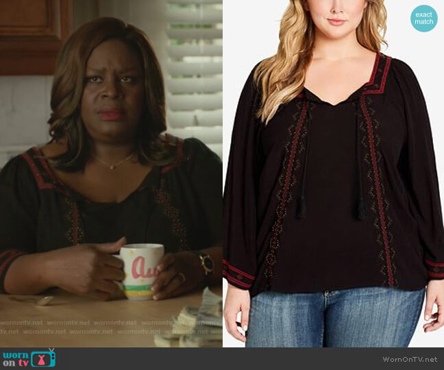 Plus Size Rogan Embellished Peasant Top by Jessica Simpson worn by Ruby Hill (Retta) on Good Girls